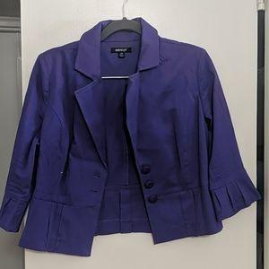 Purple 3/4 Sleeve Peplum Short Blazer